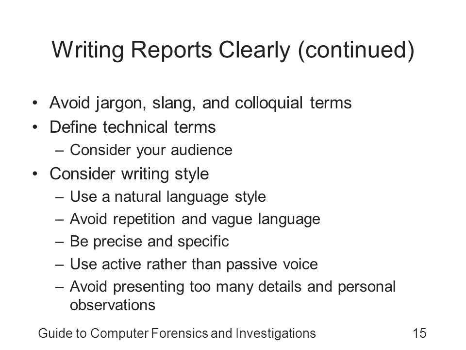 Writing Reports Clearly (continued)