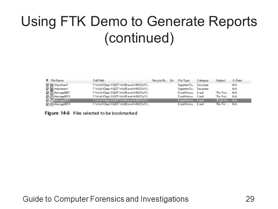 Using FTK Demo to Generate Reports (continued)