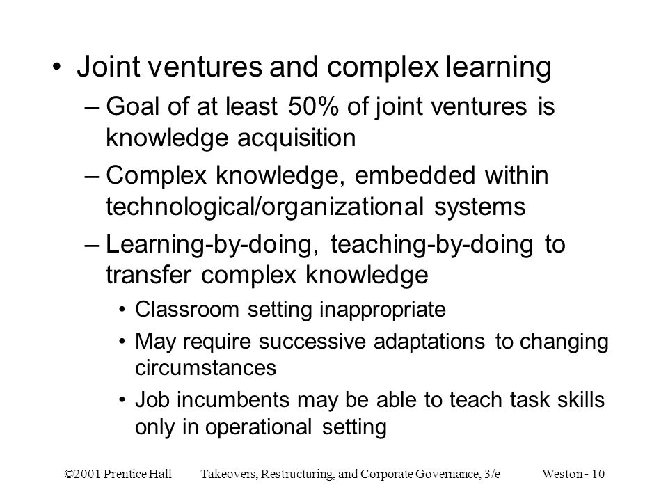 Joint ventures and complex learning