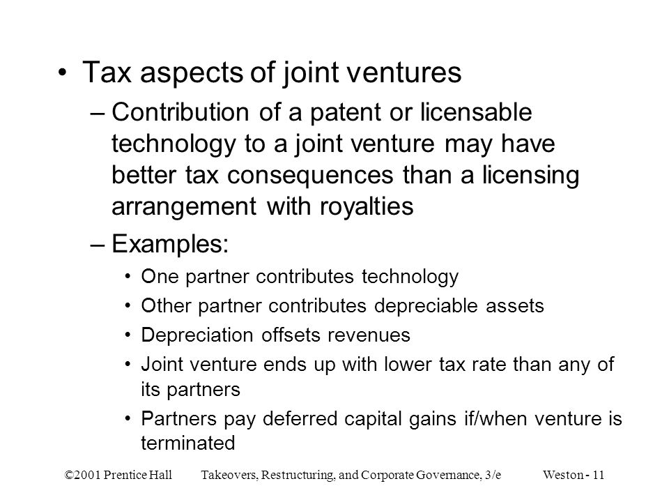 Tax aspects of joint ventures
