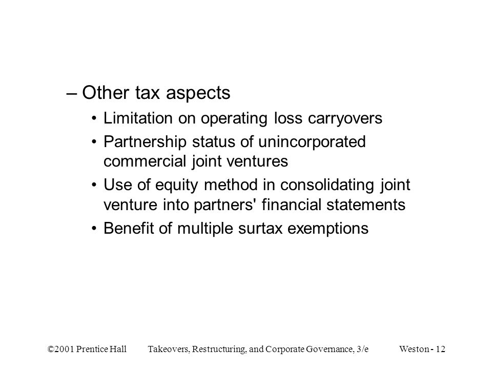 Other tax aspects Limitation on operating loss carryovers