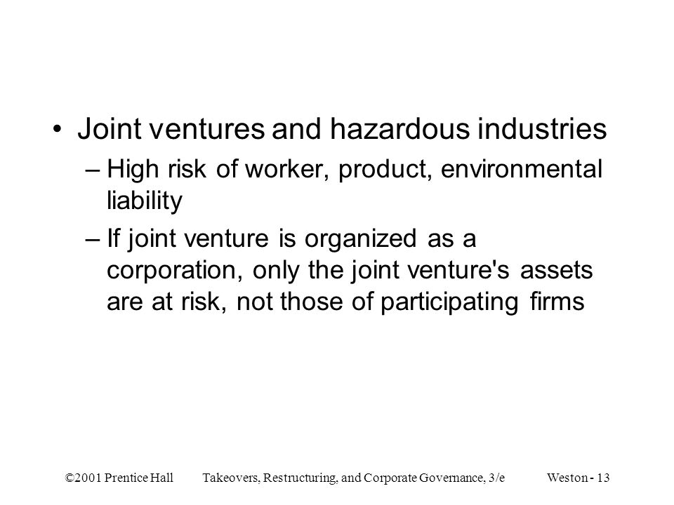 Joint ventures and hazardous industries