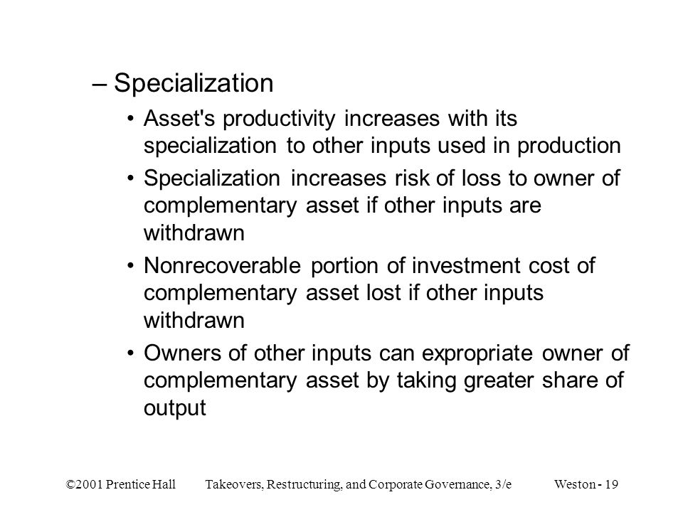 Specialization Asset s productivity increases with its specialization to other inputs used in production.