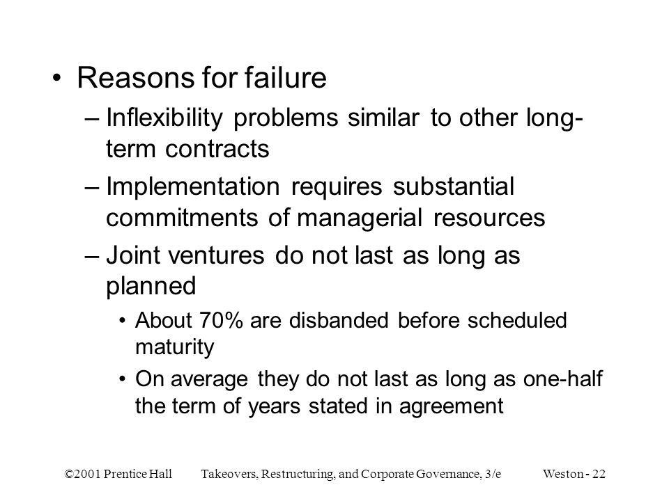 Reasons for failure Inflexibility problems similar to other long-term contracts.