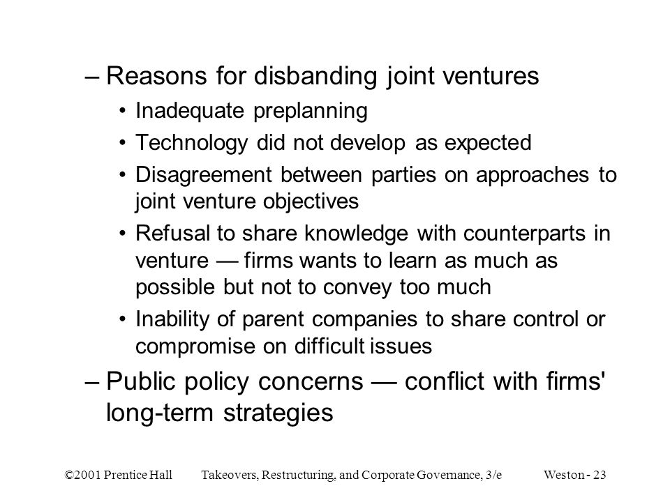 Reasons for disbanding joint ventures