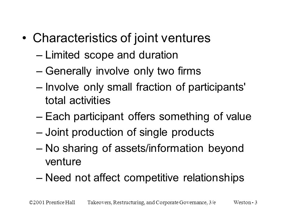 Characteristics of joint ventures