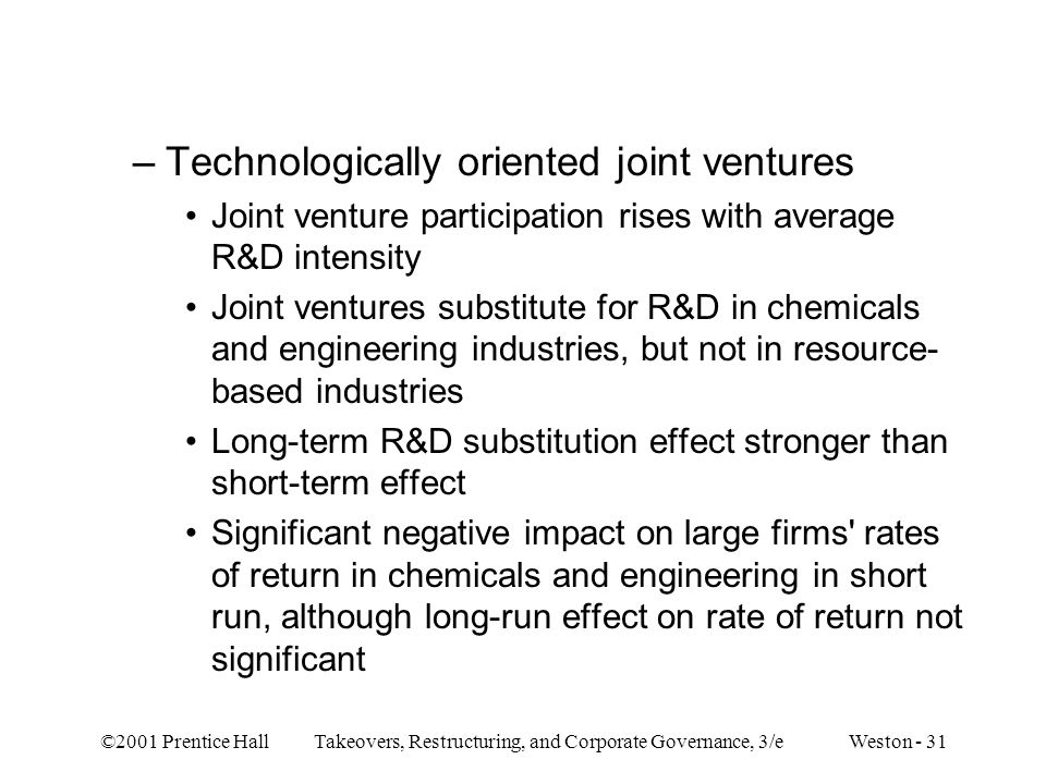 Technologically oriented joint ventures