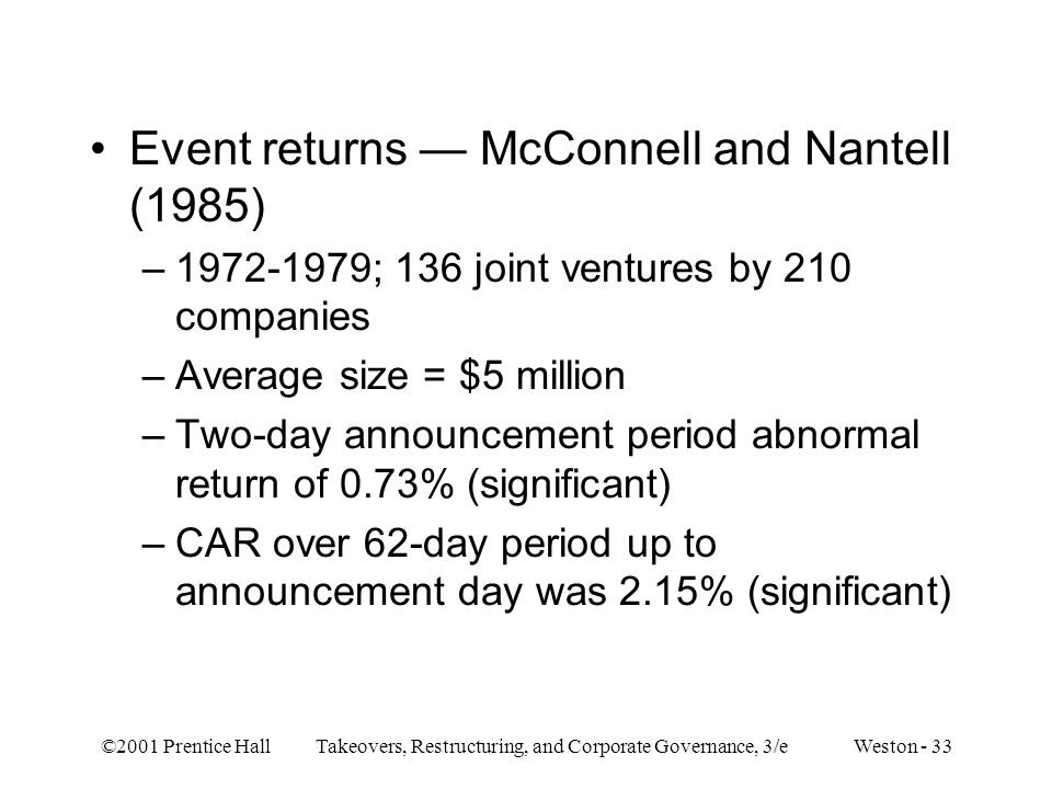 Event returns — McConnell and Nantell (1985)