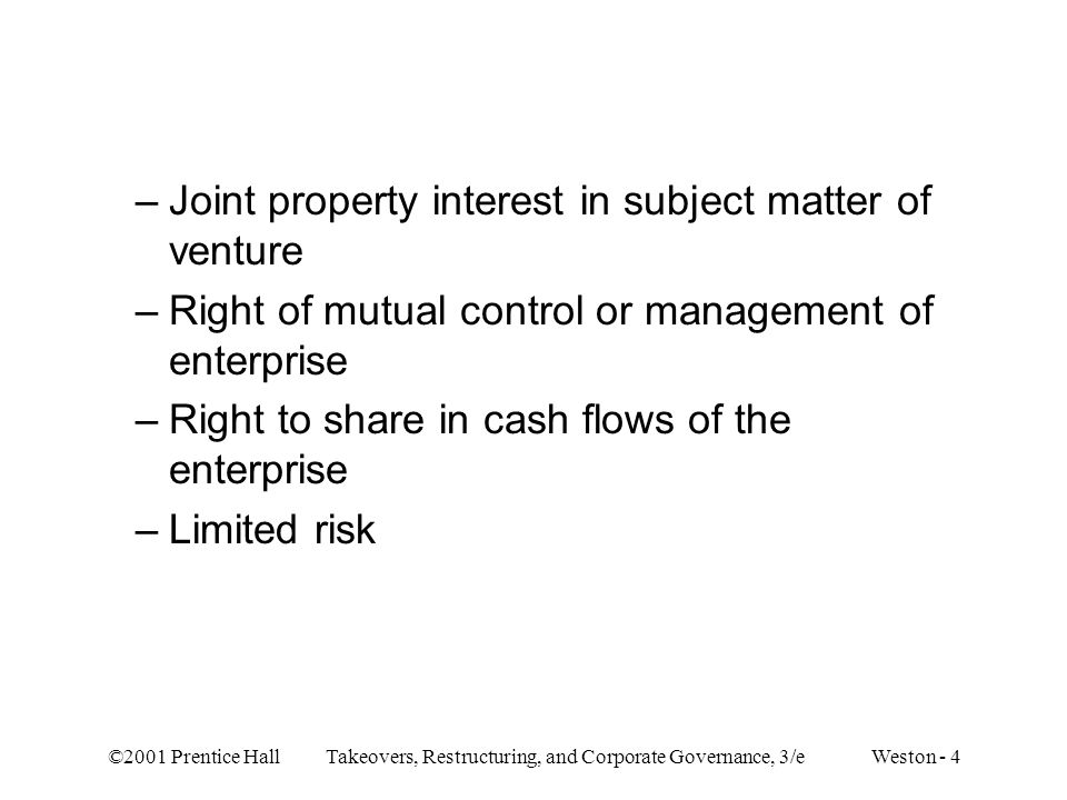 Joint property interest in subject matter of venture
