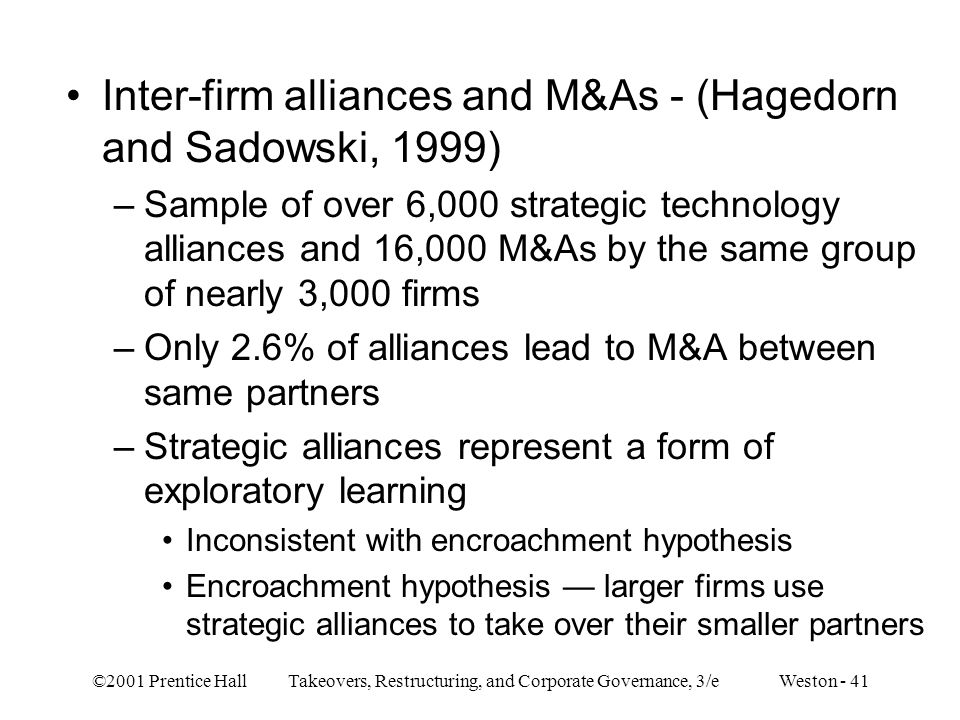 Inter-firm alliances and M&As - (Hagedorn and Sadowski, 1999)