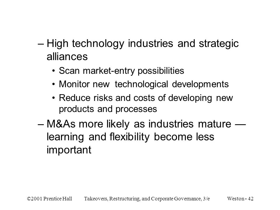 High technology industries and strategic alliances