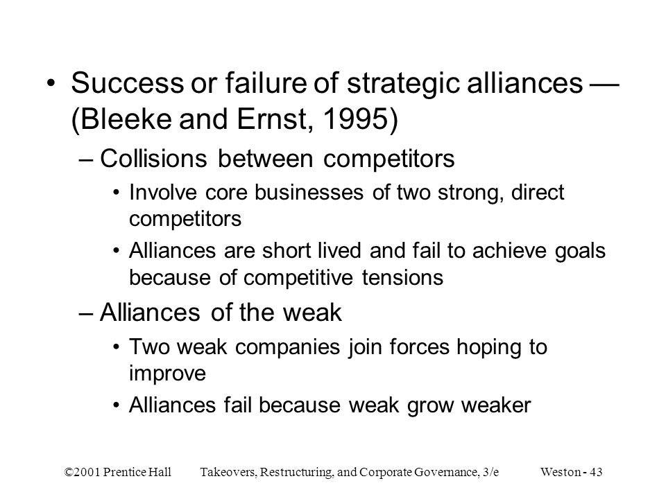 Success or failure of strategic alliances — (Bleeke and Ernst, 1995)