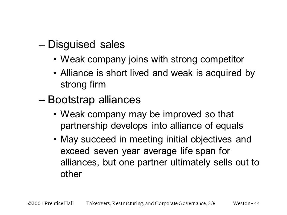 Disguised sales Bootstrap alliances