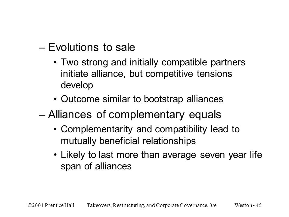 Alliances of complementary equals