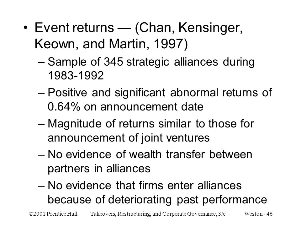 Event returns — (Chan, Kensinger, Keown, and Martin, 1997)