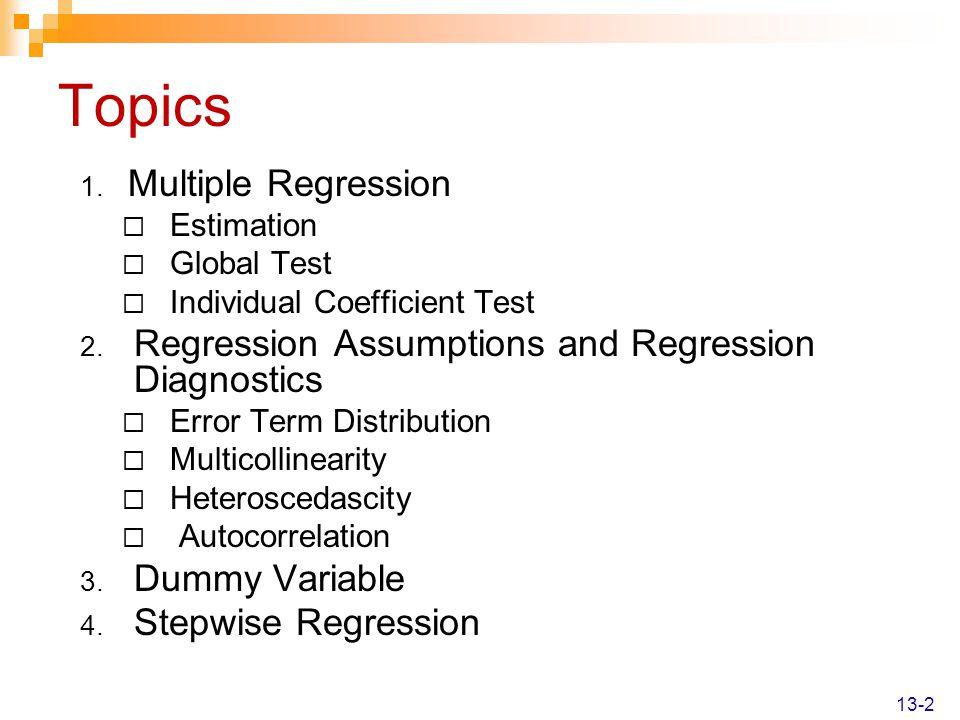 Topics Multiple Regression