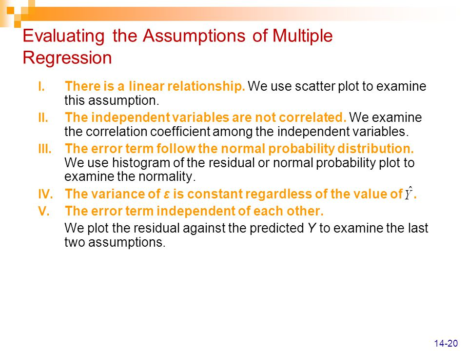 Evaluating the Assumptions of Multiple Regression