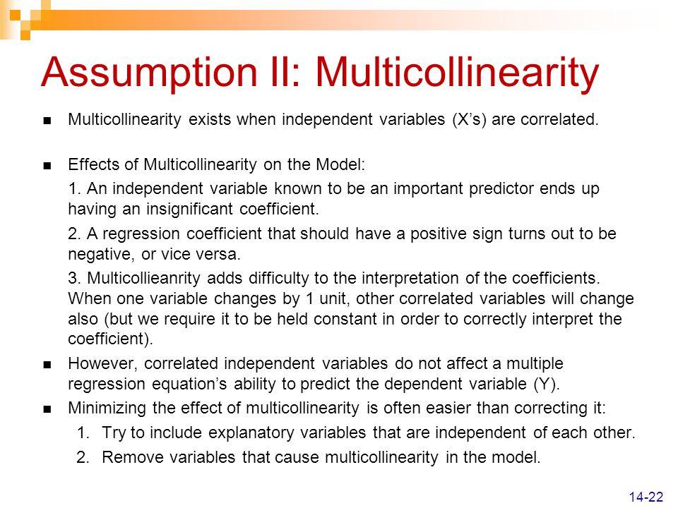 Assumption II: Multicollinearity
