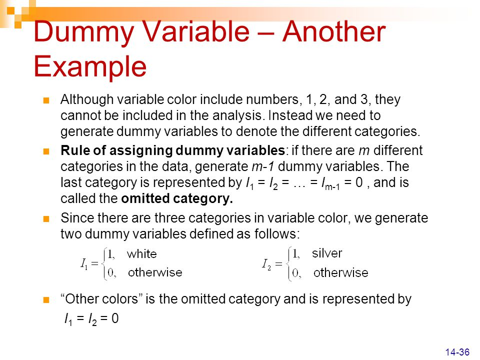 Dummy Variable – Another Example