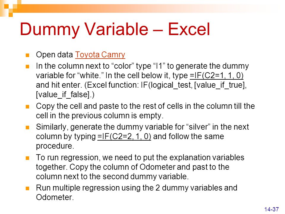 Dummy Variable – Excel Open data Toyota Camry