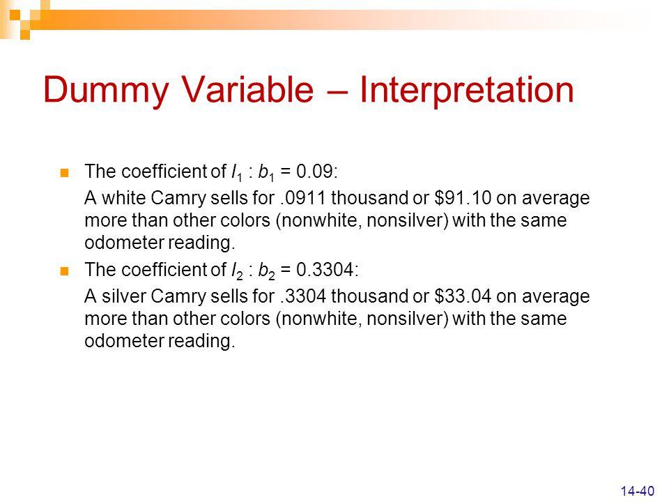 Dummy Variable – Interpretation