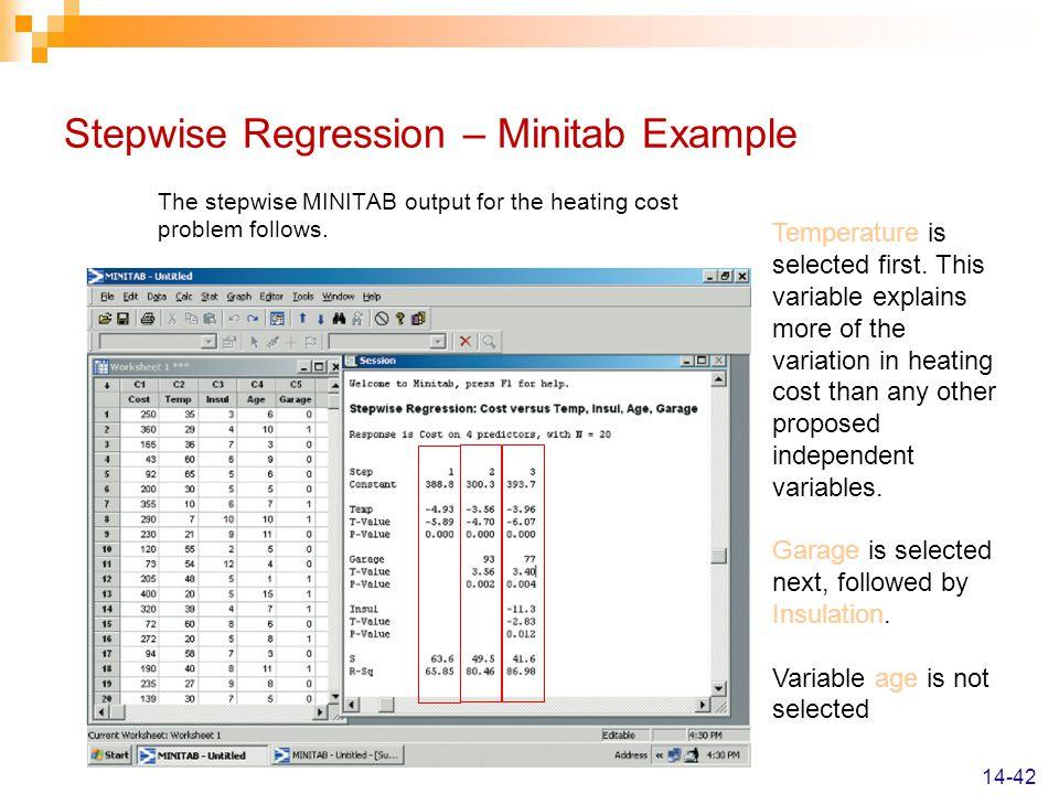 Stepwise Regression – Minitab Example