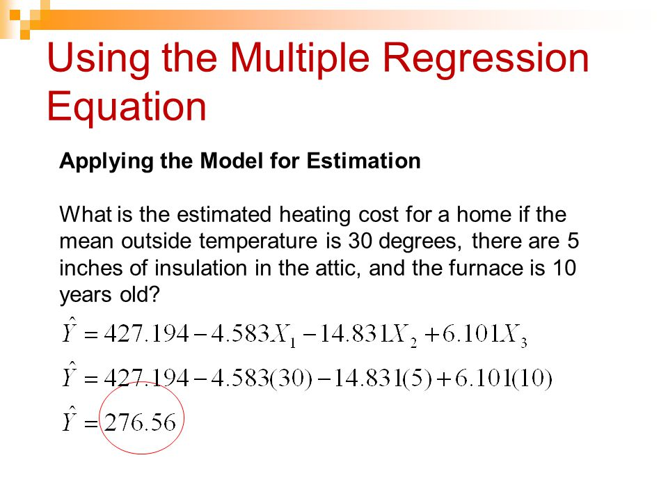 Using the Multiple Regression Equation