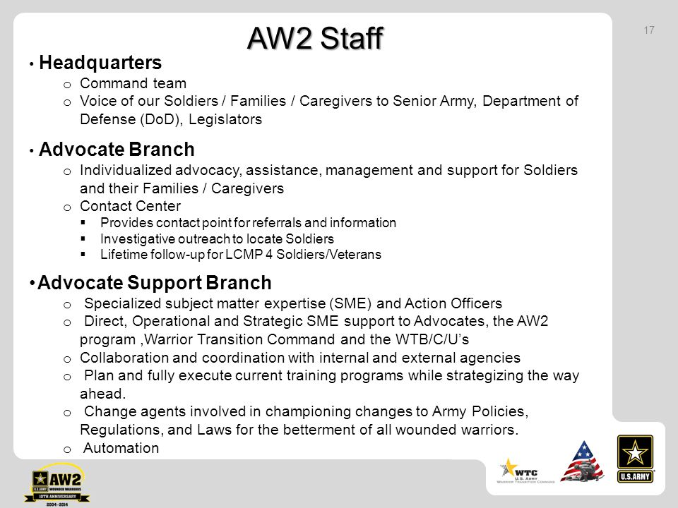 AW2 Staff Advocate Support Branch Headquarters Command team