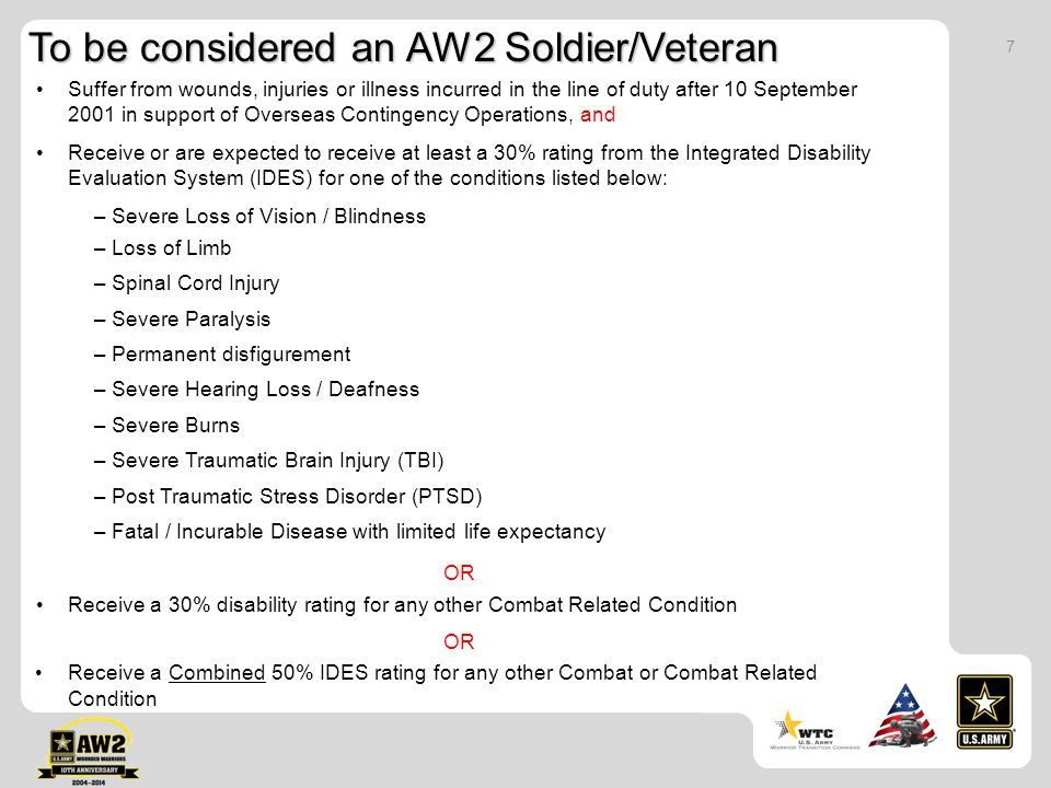 To be considered an AW2 Soldier/Veteran