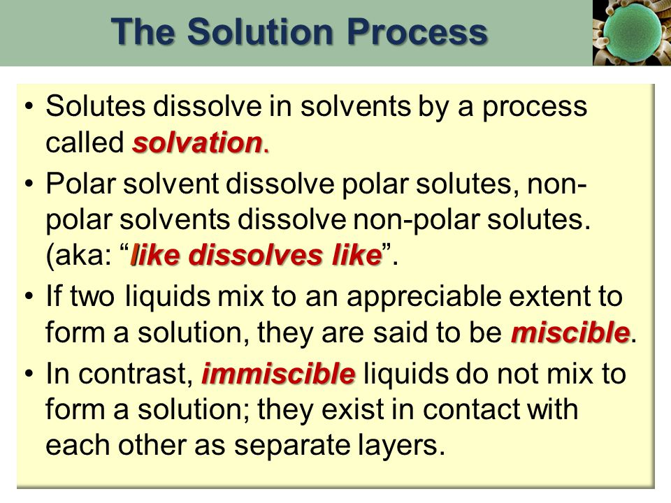 The Solution Process Solutes dissolve in solvents by a process called solvation.