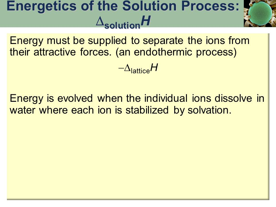 Energetics of the Solution Process: solutionH