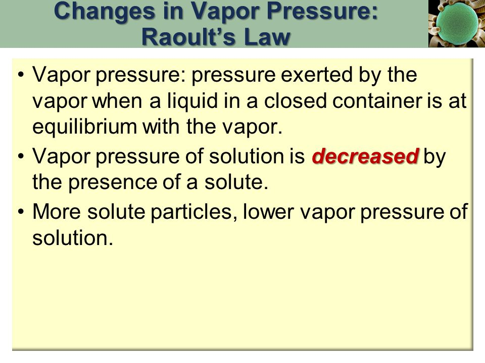 Changes in Vapor Pressure: Raoult's Law