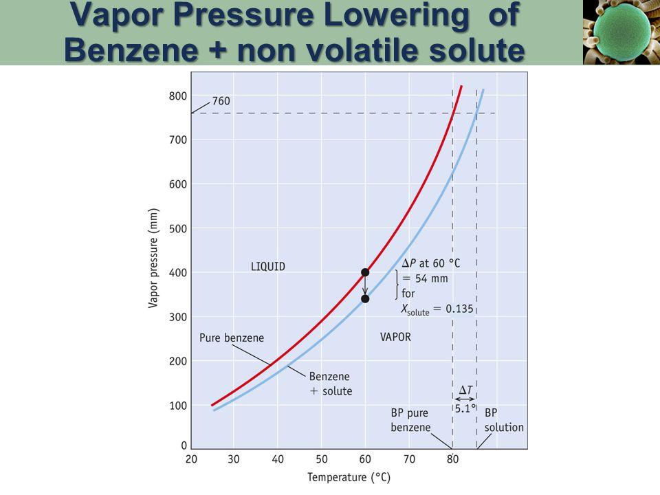 Vapor Pressure Lowering of Benzene + non volatile solute
