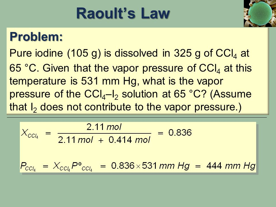 Raoult's Law Problem: Pure iodine (105 g) is dissolved in 325 g of CCl4 at.