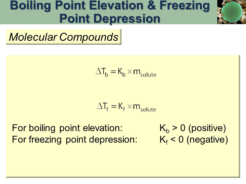 Boiling Point Elevation & Freezing Point Depression
