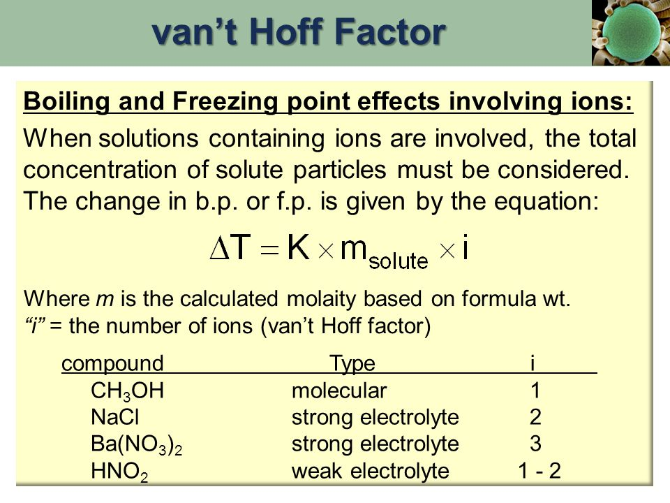 van't Hoff Factor Boiling and Freezing point effects involving ions: