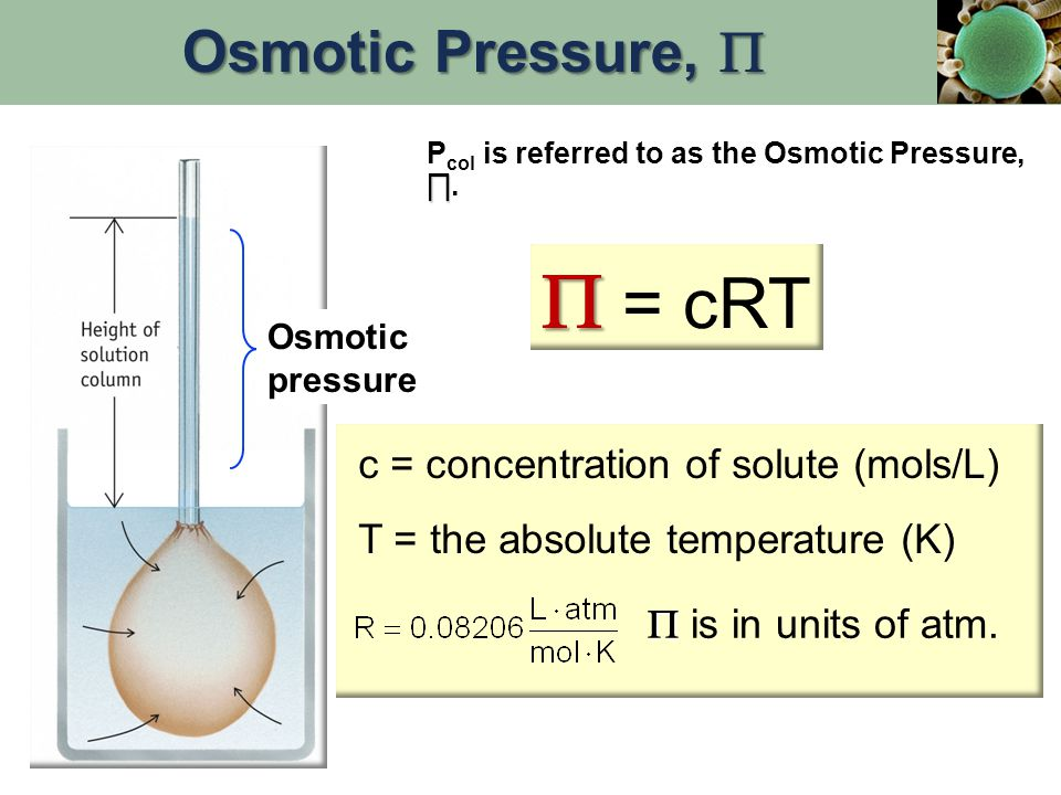  = cRT Osmotic Pressure,  c = concentration of solute (mols/L)