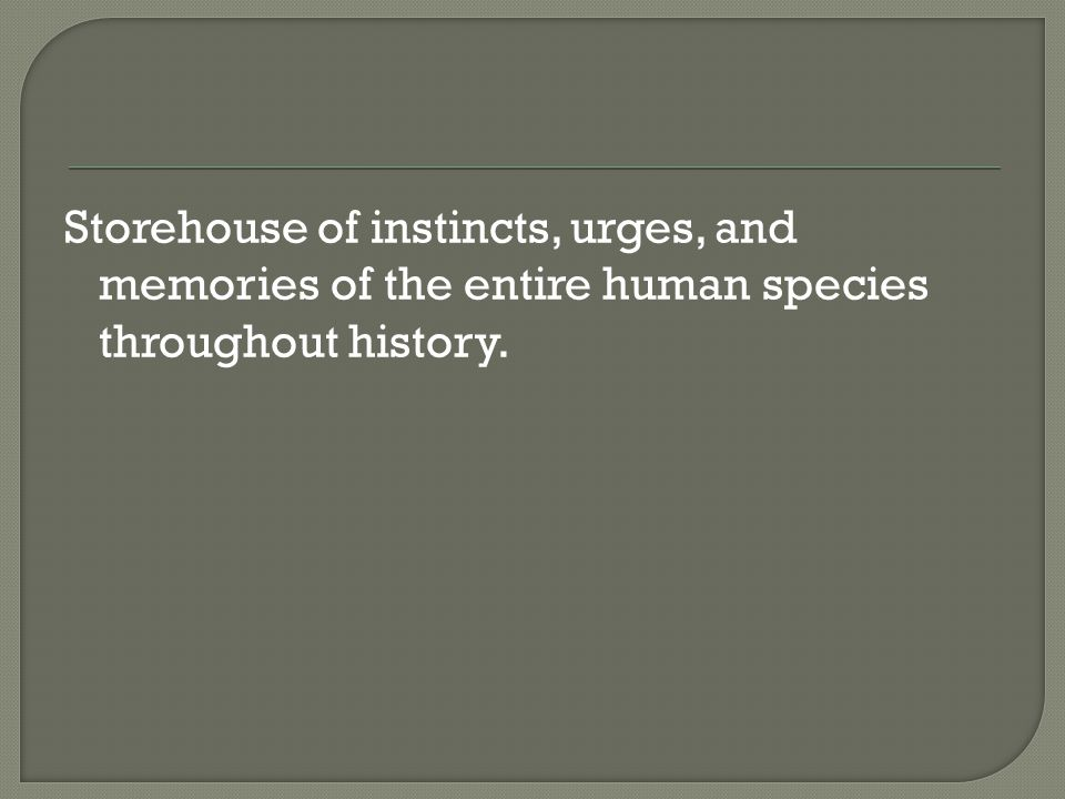 Storehouse of instincts, urges, and memories of the entire human species throughout history.