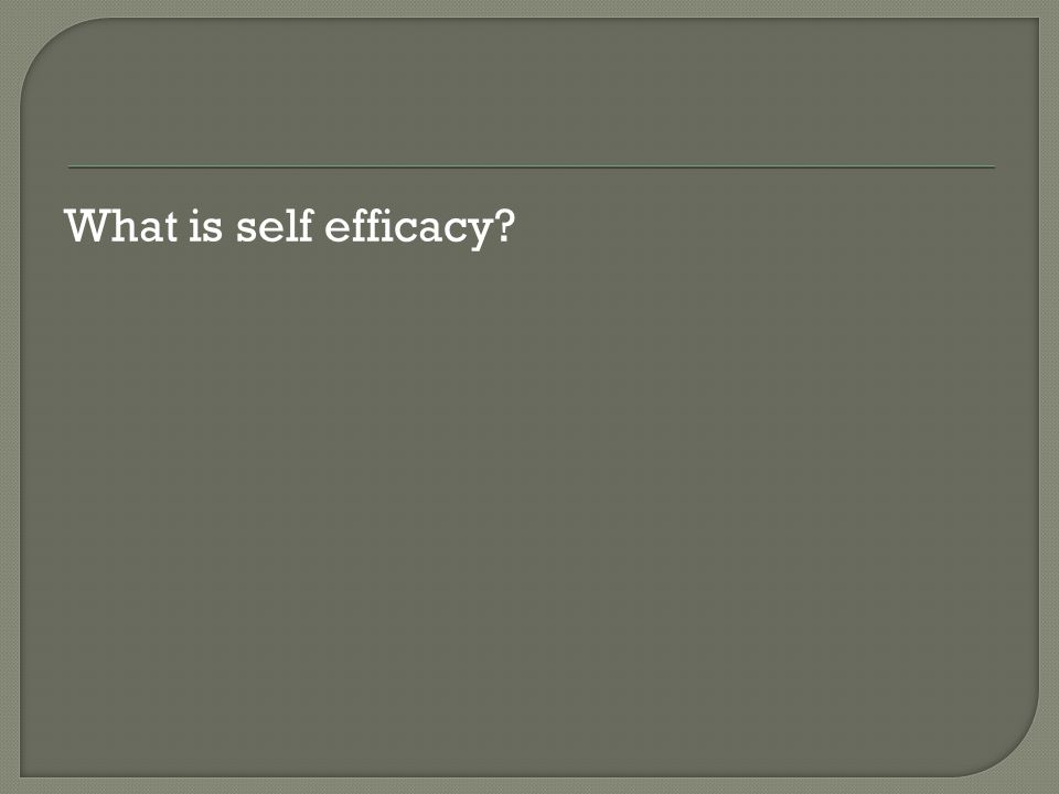 What is self efficacy