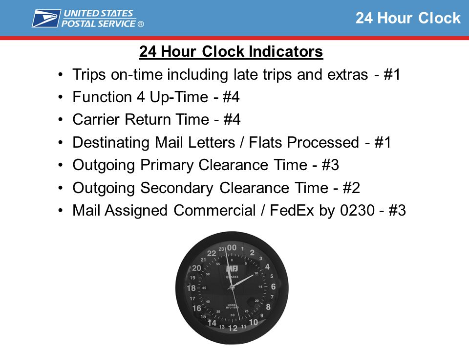 24 Hour Clock 24 Hour Clock Indicators. Trips on-time including late trips and extras - #1. Function 4 Up-Time - #4.