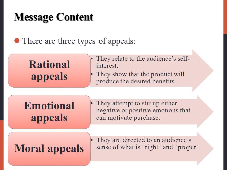 Rational appeals Emotional appeals Moral appeals