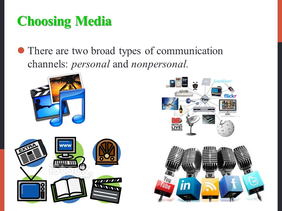 Choosing Media There are two broad types of communication channels: personal and nonpersonal.