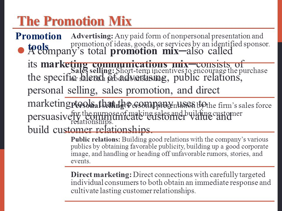 The Promotion Mix Promotion tools.