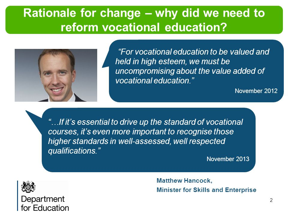 Rationale for change – why did we need to reform vocational education