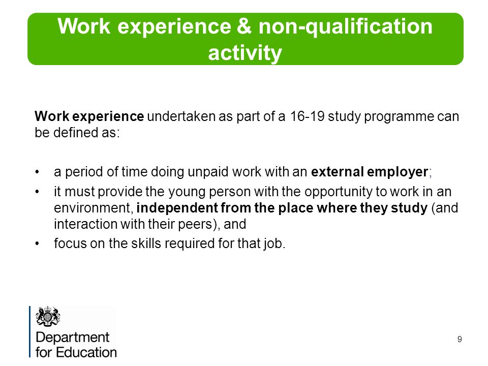 Work experience & non-qualification activity