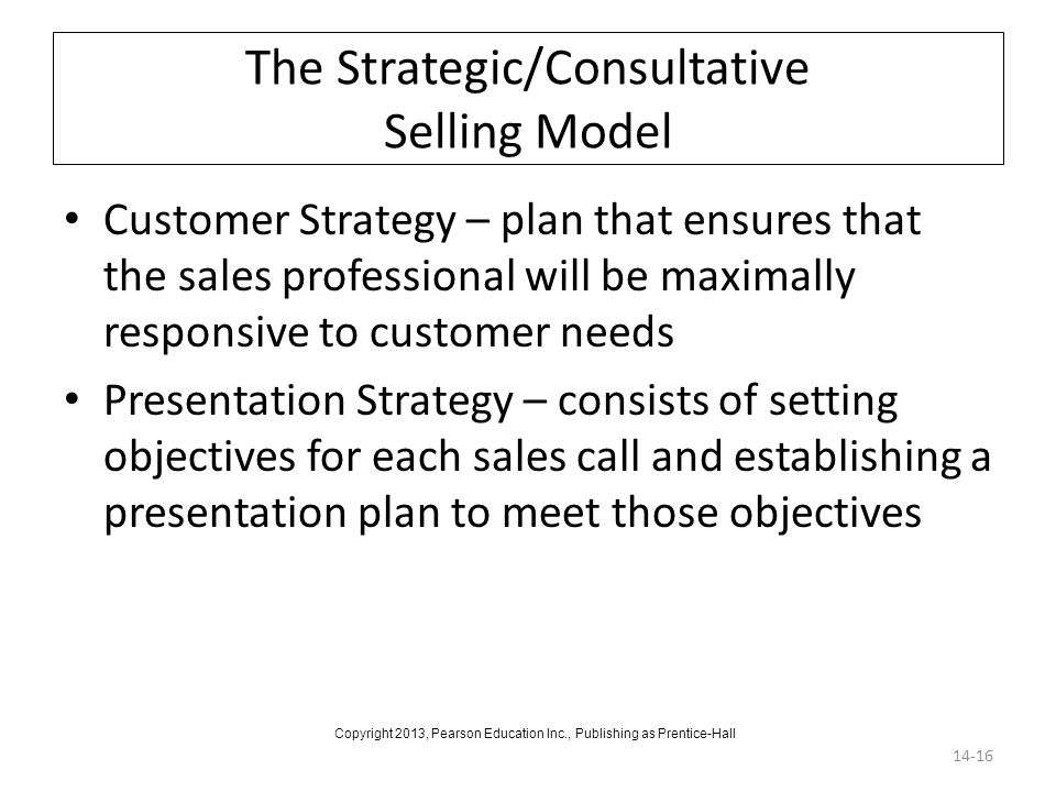 The Strategic/Consultative Selling Model