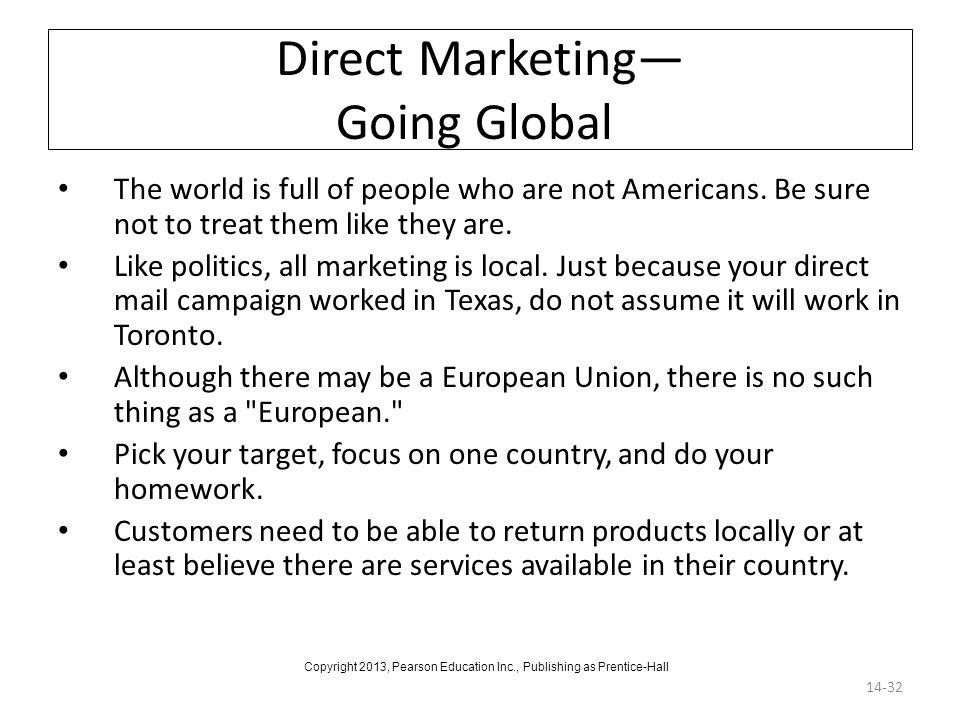 Direct Marketing— Going Global