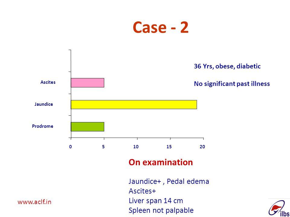 Case - 2 On examination Jaundice+ , Pedal edema Ascites+