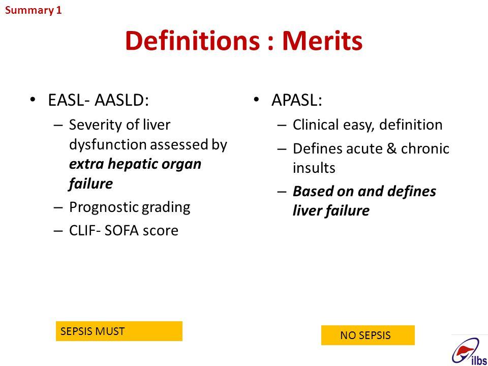 Definitions : Merits EASL- AASLD: APASL: