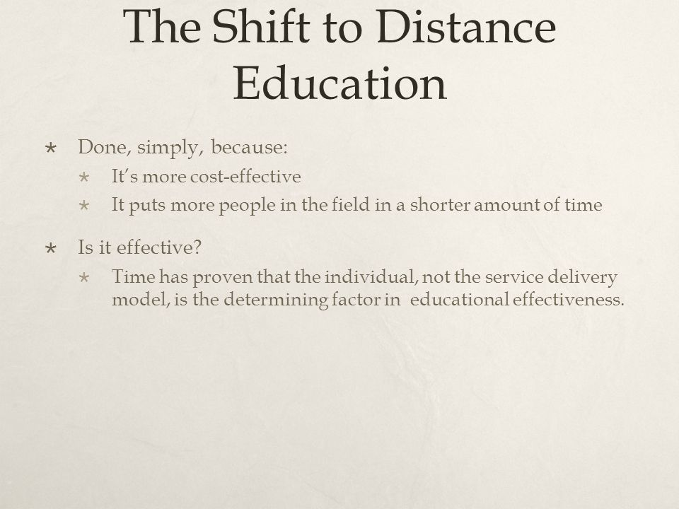 The Shift to Distance Education